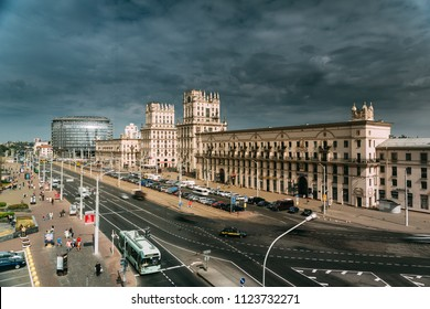 Minsk, Belarus. Two Buildings Towers Symbolizing Gates Of Minsk, Station Square. Crossing The Streets Of Kirova And Bobruyskaya. Soviet Heritage, Urban Style. Famous Landmark.