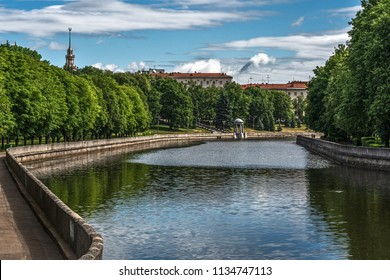 Minsk, Belarus, a view of the Svislach river and Janka Kupala's Park