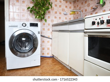 MINSK BELARUS-26.04.2020:Washing machine LG F12A8HD 7kg installed in the apartment.