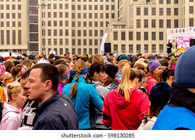 MINSK, BELARUS.8 MARCH, 2017: Women's race in honor of March 8 under the slogan of a woman against violence.