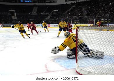 MINSK, BELARUS-APRIL 10: EuroChallenge 2012, Belarus VS Sweden: Eric Ersberg(goalkeeper) saves sweden team on April 10, 2012 in Minsk, Belarus