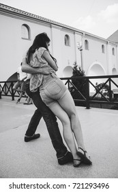 MINSK, BELARUS.August 12, 2017 Couples dancing outdoors on the street