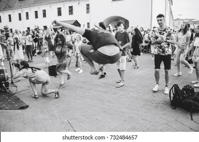 MINSK, BELARUS.August 12, 2017. A group of people dancing at a street concert