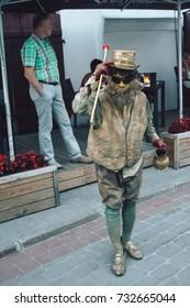 MINSK, BELARUS.August 12, 2017. Street Theater Man in the form of a statue