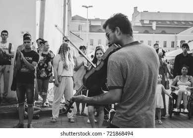 MINSK, BELARUS.August 12 2017 Violinist playing on the street