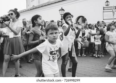 MINSK, BELARUS.August 19, 2017. Little girl in the evening on the street