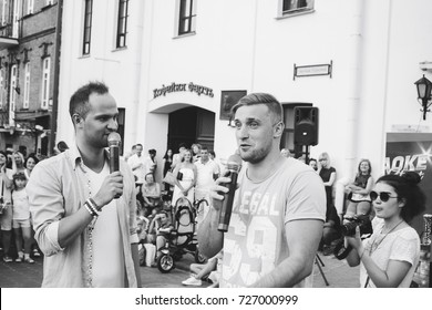 MINSK, BELARUS.August 19, 2017. A man with a microphone on the street