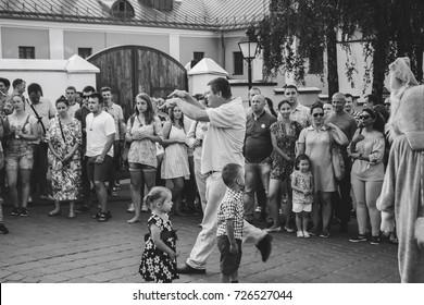 MINSK, BELARUS.August 19 2017 Woman singing on the street
