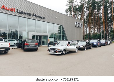 MINSK, BELARUS.August 26, 2017. Test drive audi. A line of cars drive down the street