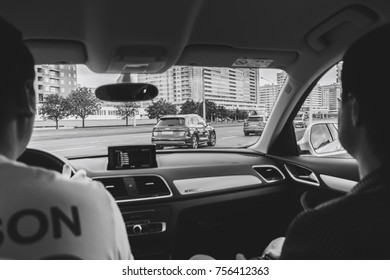 MINSK, BELARUS.August 26, 2017. Test drive audi. Two men are sitting in the car