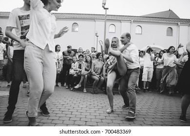 MINSK, BELARUS.August 5, 2017 Couples dancing outdoors on the street