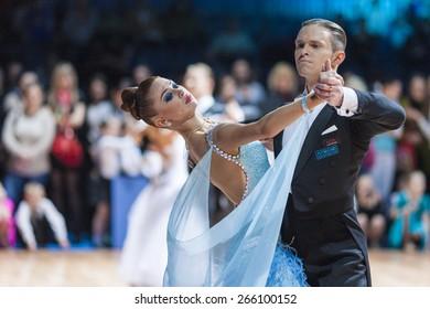 Minsk, Belarus-February 15, 2015:Asonov Ilya and Asonova Alena from Russia Performs Adult Standard Program on IDSA World Professional 10 Dance Championship on February 15, 2015, Minsk, Belarus