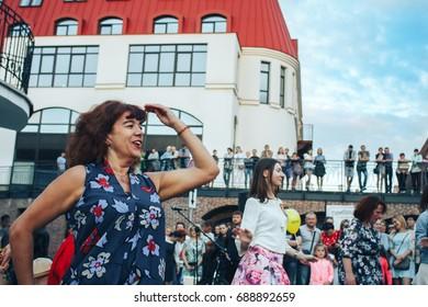 MINSK, BELARUS.JULY 22 2017 Dancing on the street