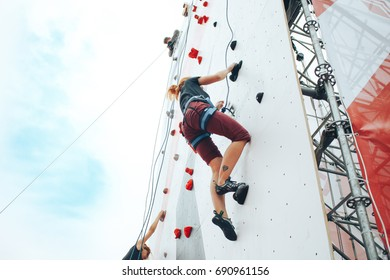 MINSK, BELARUS.JULY 29, 2017. Competitions on climbing the wall in Minsk