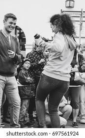 MINSK, BELARUS.JULY 29, 2017 People watching the performance on the street