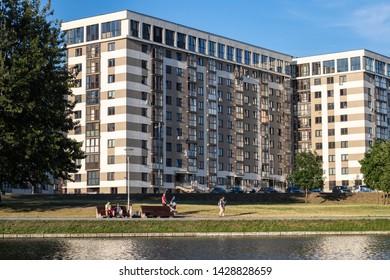 Minsk, Belarus-June 20,2019: buildings of Minsk, Uruchye Vostok