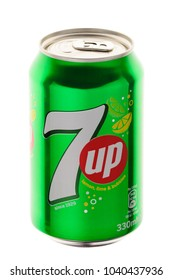 MINSK, BELARUS-MARCH 07, 2018: Beverage canister 7up. 7 Up (stylized as 7up outside the U.S.) is a brand of lemon-lime flavored, non-caffeinated soft drink. Editorial. Path included.