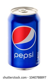 MINSK, BELARUS-MARCH 07, 2018: Beverage canister Pepsi. Pepsi is a carbonated soft drink produced and manufactured by PepsiCo. Editorial. Path included.