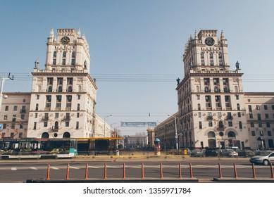Minsk, Belarus-March 30, 2019 two tower buildings symbolizing the Gates of Minsk, N Soviet Heritage, Urban Style. the famous landmark of Minsk,