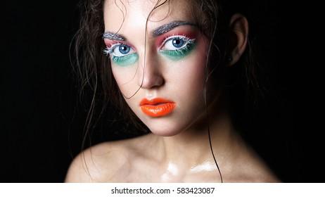 MINSK, BELARUS-OCTOBER 19, 2016: Beauty fashion portrait. Creative make-up. Master class on makeup.