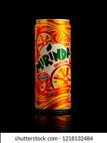 MINSK, BELARUS-OCTOBER 31, 2018: Can of Mirinda orange. Mirinda is a brand of soft drink originally created in Spain in 1959, with global distribution.
