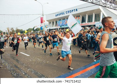 MINSK, BELARUS.September 10 2017 Minsk half-marathon in 2017 A group of people cross the finish line