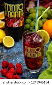 "MINSK, BELARUS-SEPTEMBER 10, 2018: Tinto Mania ""Tinto de Verano"" - Low alcohol drink based on dry red wine (vino de tinto). The most popular and best-selling drink in Spain"