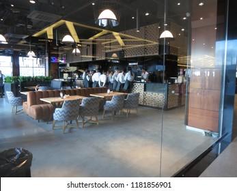 Minsk, Belarus-September 13, 2018: Instructing staff before work. Instructing the waiters.