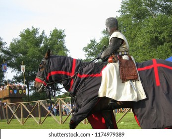 Minsk, Belarus-September 8, 2018:  Knightly tournament in Minsk on the day of the city. A medieval battle. Knights of the middle ages