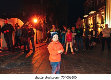 MINSK, BELARUS.September16,2017 Little girl at a street concert