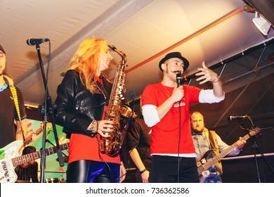 MINSK, BELARUS.September23,2017. Musicians play on the street