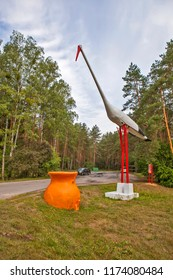 MINSK HIGHWAY, BELARUS - JULY 13, 2018: Photo of Art object based on the fable of the Fox and Crane
