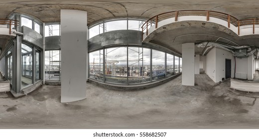 Minsk, June 9, 2013: The new two-level apartment is empty without repair. full 360 degrees panorama in equirectangular spherical projection, VR content