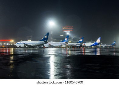 Minsk, Minsk National Airport, Belarus - June 15, 2018: Belavia aircrafts are on the airport apron near the terminal building