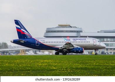 Minsk, Minsk National Airport, Belarus - September 8, 2015: Sukhoi Superjet 100 RA-89014 Aepoflot Airlines on the background of the Minsk airport