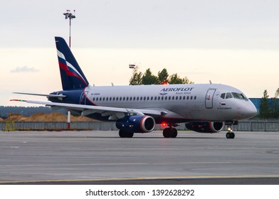 Minsk, Minsk National Airport, Belarus - September 8, 2015: Sukhoi Superjet 100 RA-89064 Aepoflot Airlines