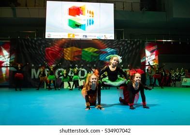 MINSK - NOVEMBER 26: children group dance at International MegaDance competotion, on November 26, 2016 in Minsk, Belarus.