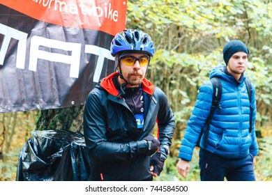 Minsk region Kryzhovka October 8, 2017 Bike ride Minsk region Kryzhovka October 8, 2017 Bike ride A man in a bicycle helmet stands in the forest