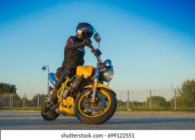 MINSK, REPUBLIC OF BELARUS - AUGUST 08, 2017: MotoGymkhana-Minsk motorcycle driving competition.