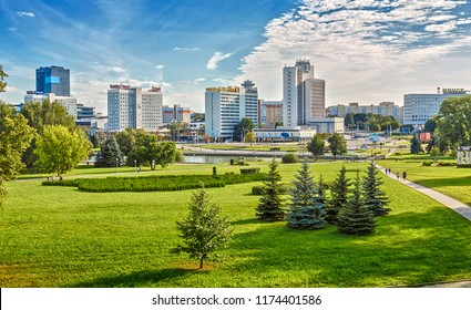 Minsk, Republic of Belarus - August 19, 2018: Panorama of the city overlooking the embankment of the Svisloch River and Pobediteley Avenue, square Starostinskaya Sloboda.