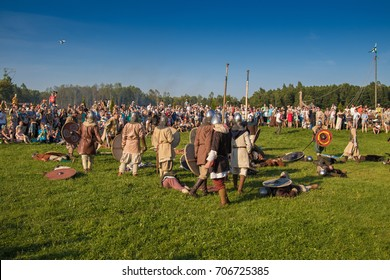 """MINSK, REPUBLIC OF BELARUS - AUGUST 19, 2017: Early Medieval Festival """"The Viking Way"""". Military contests, mass battles wall to wall, a tournament of lancers, battles of units."""