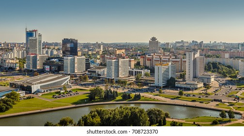 Minsk, Republic of Belarus - August 31, 2017: Panorama of the city landscape with the river Svisloch and Pobediteley Avenue.