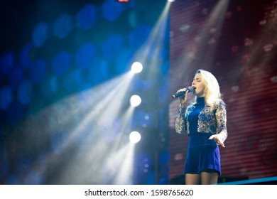 "MINSK, REPUBLIC OF BELARUS - DECEMBER 06, 2019: Prime Hall New Year's Charity annual concert ""Touch of Life""."