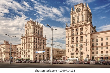 """Minsk, Republic of Belarus - July 21, 2017: """"Gates of Minsk"""" - an architectural complex on the Railway station square in Minsk, is one of the symbols of the city."""