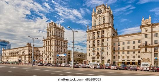 "Minsk, Republic of Belarus - July 21, 2017: ""Gates of Minsk"" is an architectural complex on the Railway Station in Minsk."