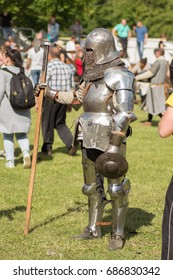 """MINSK, REPUBLIC OF BELARUS - July 22, 2017: Festival """"Our Grunwald 2017"""". The battle of knights of different countries in the armor of the XIV century."""