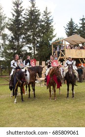 """MINSK, REPUBLIC OF BELARUS - July 23, 2017: Museum complex of ancient folk crafts Dudutki. The festival """"Our Grunwald 2017"""". Equestrian tournament according to the rules of the XIV century"""