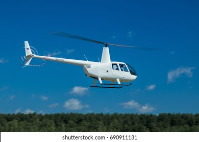 "MINSK, REPUBLIC OF BELARUS - July 30, 2017: Festival of Aviation Sports ""About the Sky"". The third stage of the helicopter sport world cup. Helicopter slalom."