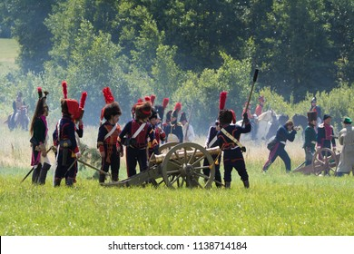"""MINSK, REPUBLIC OF BELARUS - JULY 9, 2018: II International Military History Festival """"MIR-2018"""". Reconstruction of the cavalry battle of the military company of 1812 in the territory of Belarus."""
