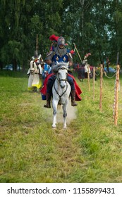 """MINSK, REPUBLIC OF BELARUS - JUNE 02, 2018: IV Festival of historical reconstruction """"The Age of Chivalry"""". Competitions and tournaments of knights in armor on horses."""